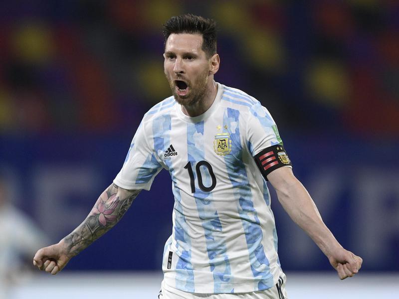 Argentina's Lionel Messi celebrates