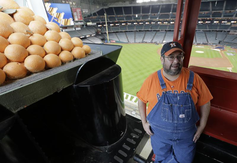 Bobby Vasquez operates a train in and around Minute Maid Park