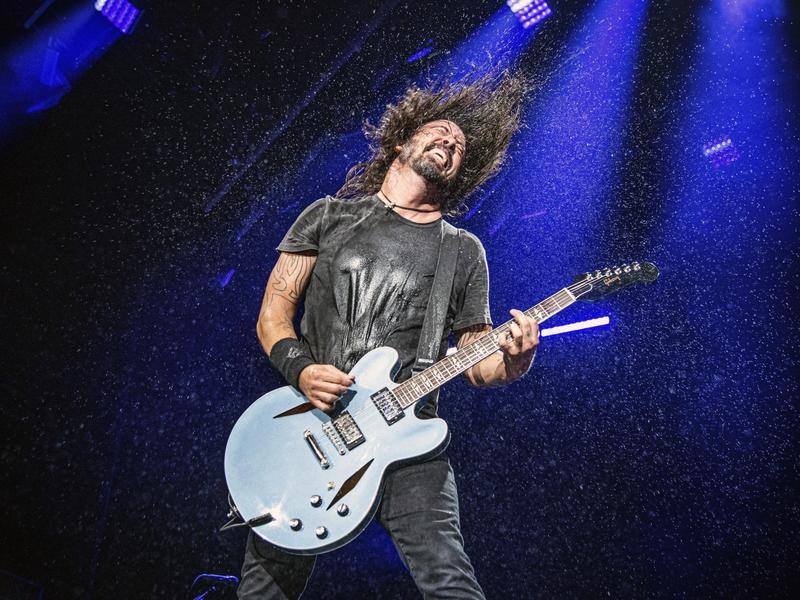 Dave Grohl playing guitar at the Bourbon and Beyond Music Festival in Louisville, Kentucky