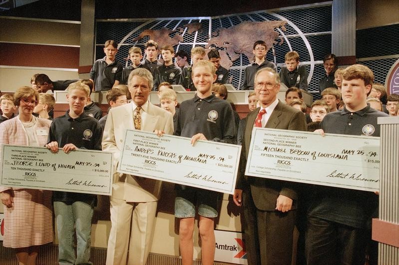 Alex Trebek at the Geography Bee in 1994