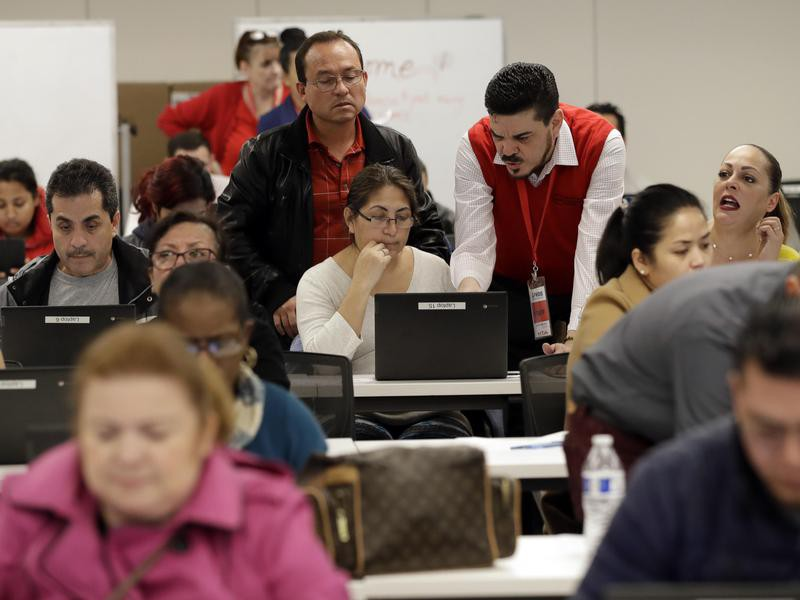 Workers  apply for unemployment benefits in Los Angeles