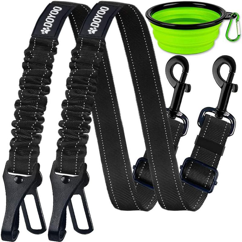 Two dog car seat belts with collapsible water cup
