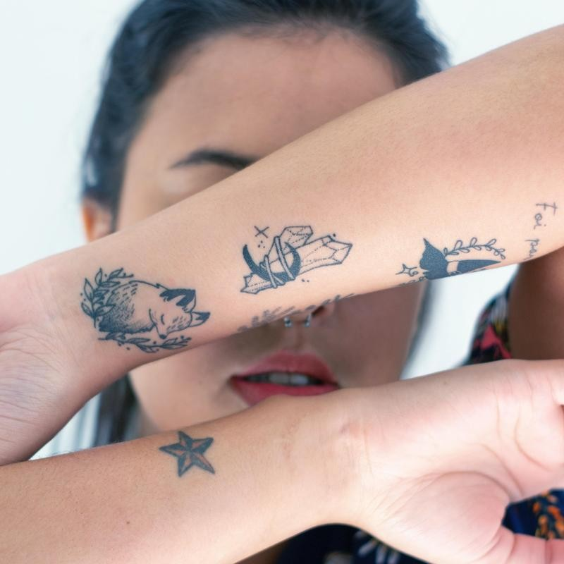 One-Color Tattoos on Forearm
