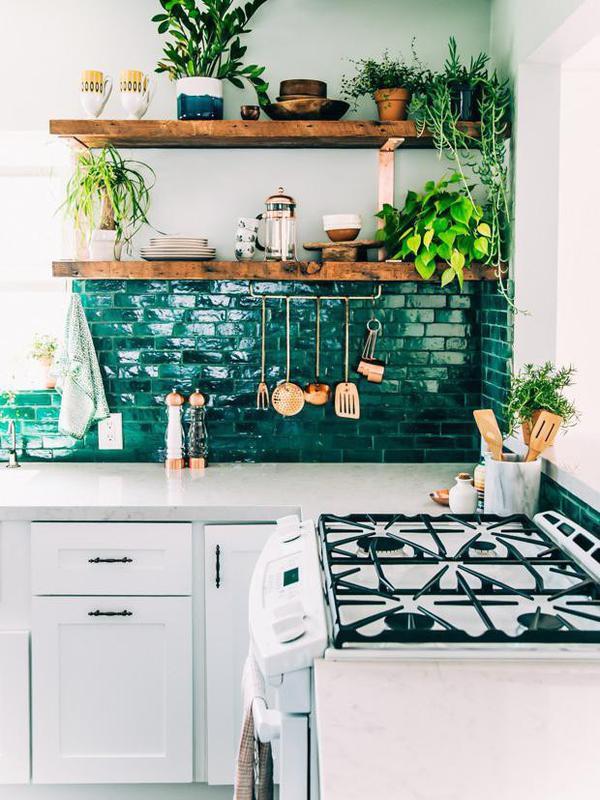 Boho style green kitchen