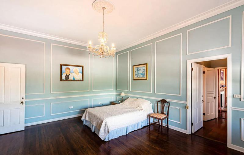 Room with light blue walls