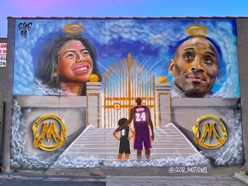 Kobe Bryant and Gianna Bryant mural in Whittier