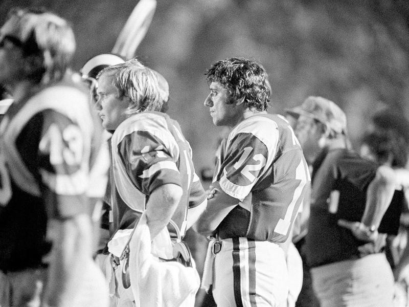 Los Angeles Rams' Joe Namath looks out from sidelines