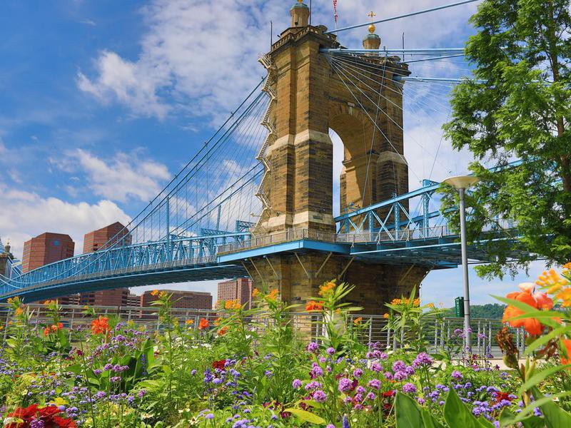 The Roebling Bridge in Cincinnati, Ohio