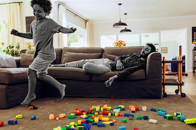 playing son sleeping dad