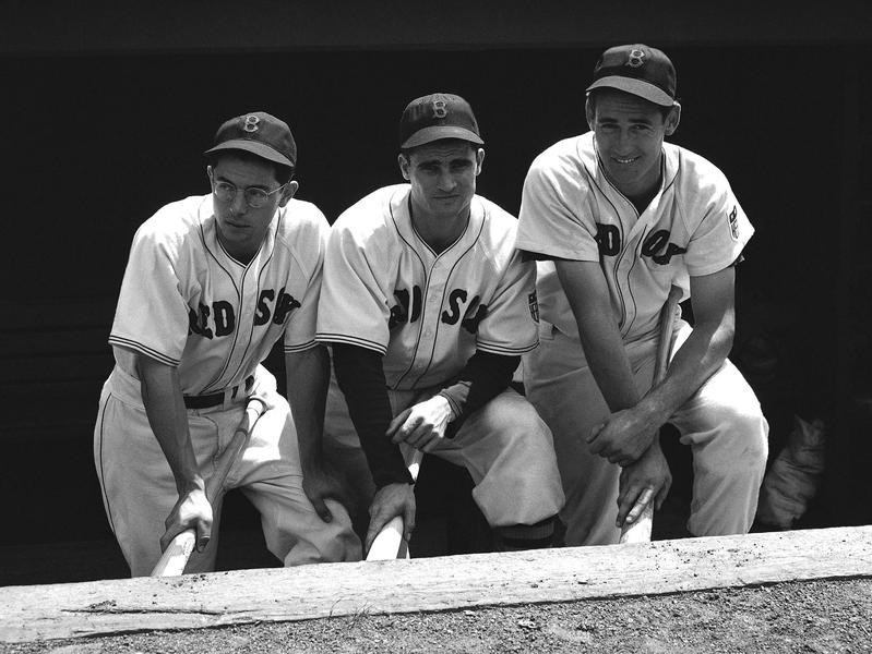Dom Di Maggio, Bobby Doerr, and Ted Williams pose at Fenway