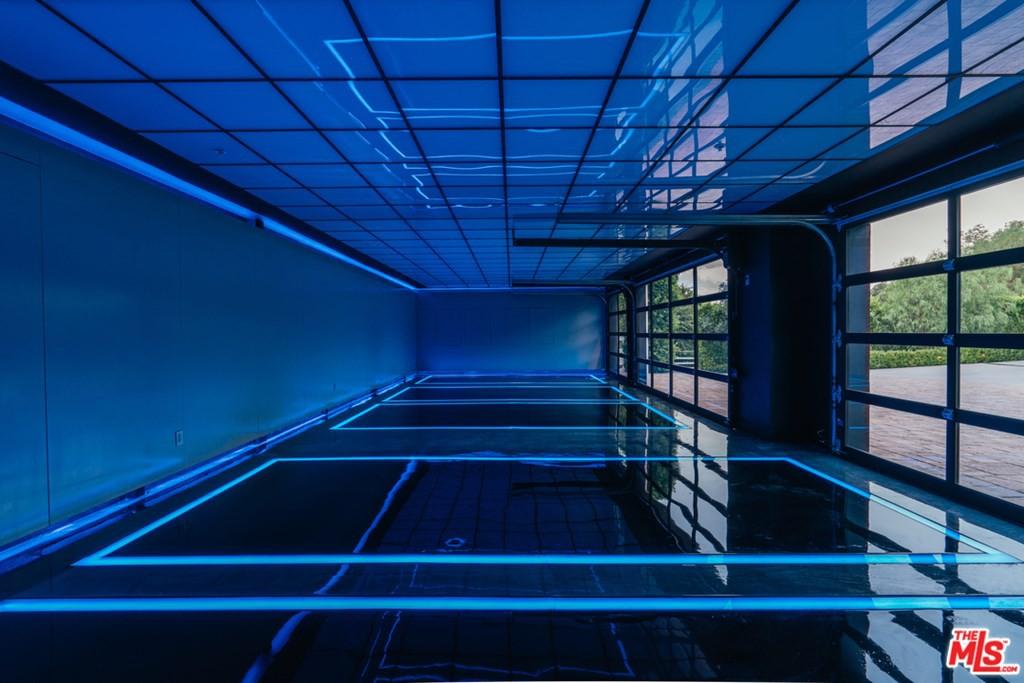 Neon-lit garage