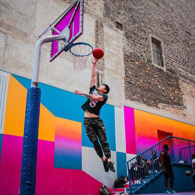 People playing at Pigalle Basketball Court