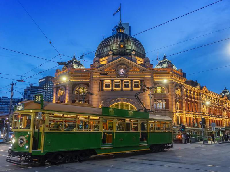 Flinders Street Station at dusk