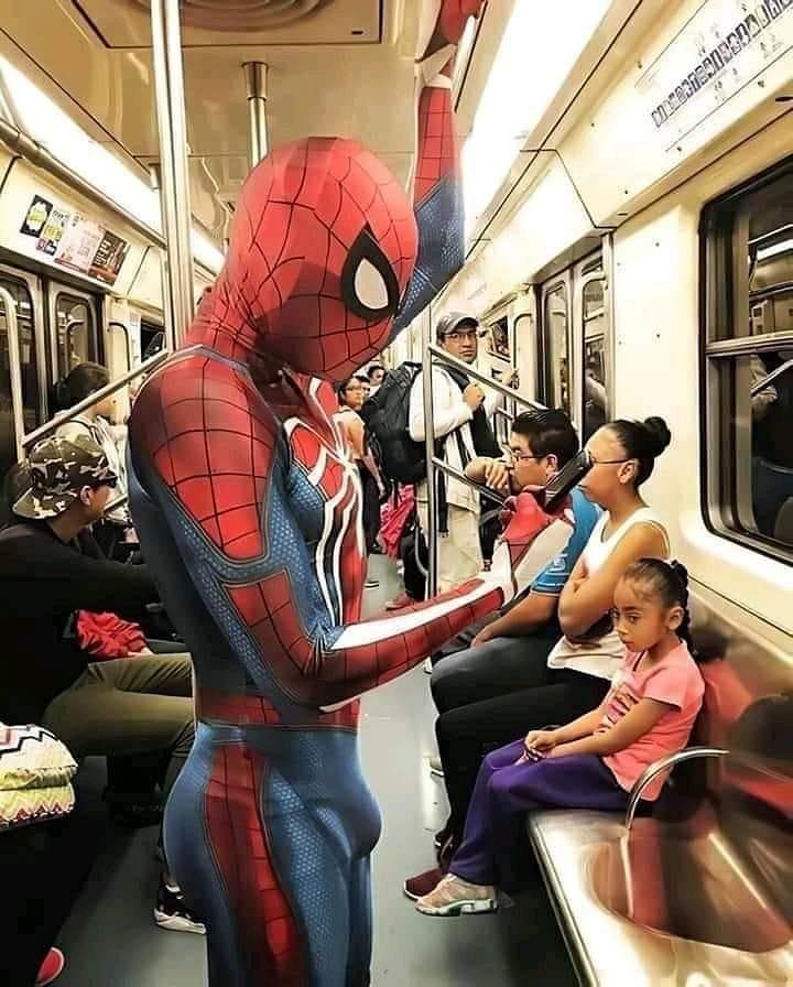 Spider-Man on the subway
