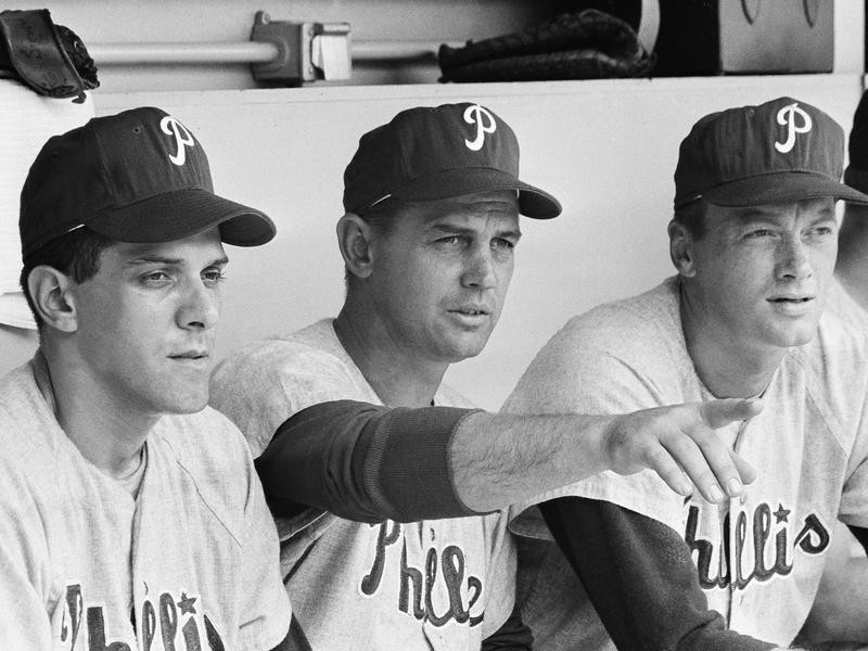 Gene Mauch in dugout at Shea Stadium