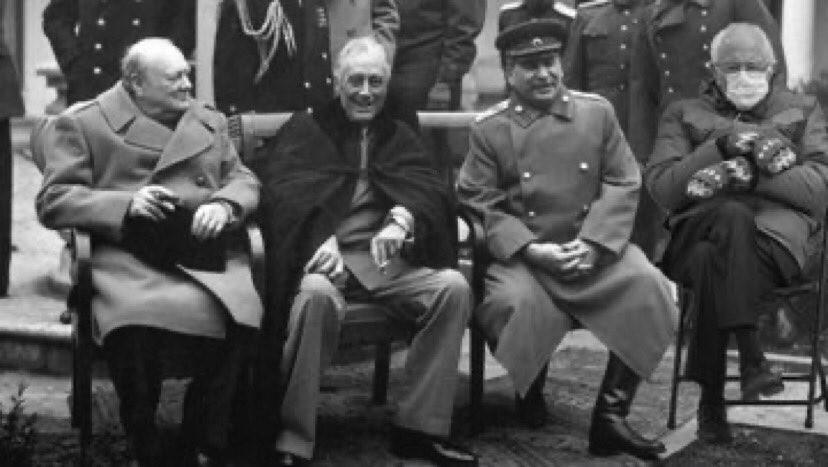Bernie Sanders with Winston Churchill, Franklin Roosevelt and Joseph Stalin
