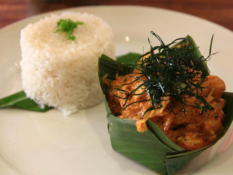 Fish amok with rice