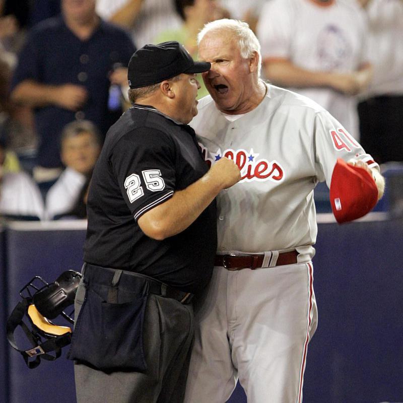 Philadelphia Phillies' Charlie Manuel reacts