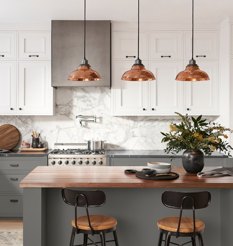 Kitchen with copper accents