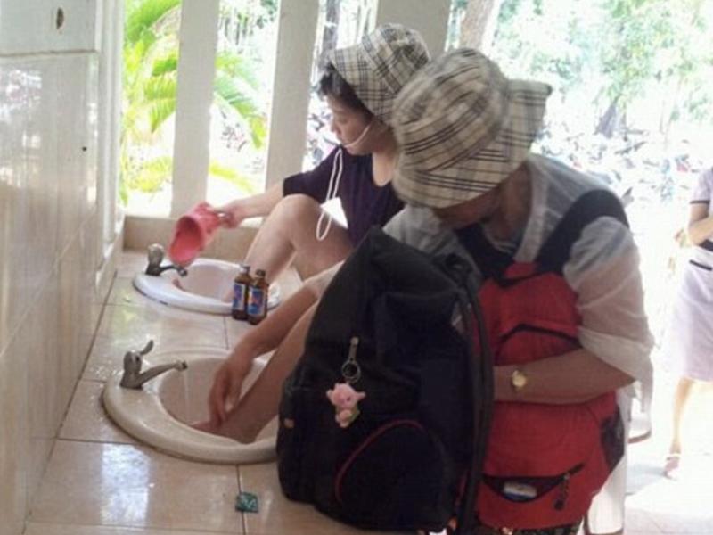 Washing in sink