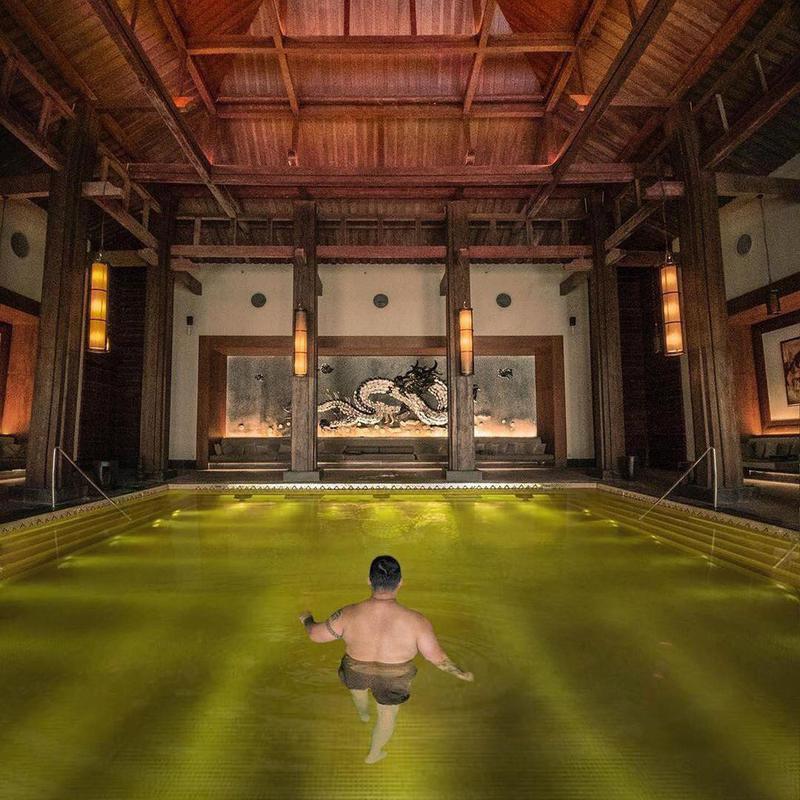 The golden pool at St. Regis Lhasa Resort