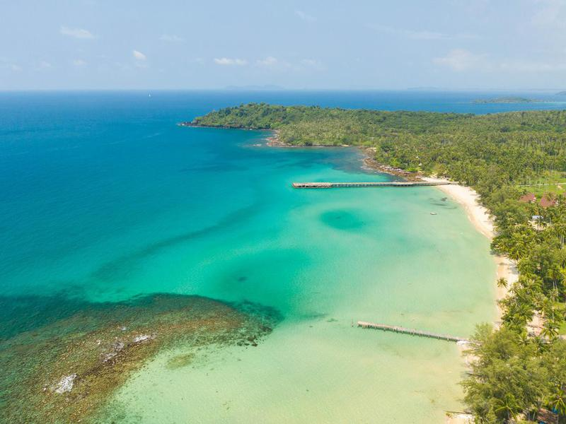 Aerial view. Beautiful tropical beach in island Koh Kood Thailand