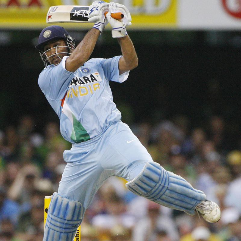 Indian batsman MS Dhoni in action