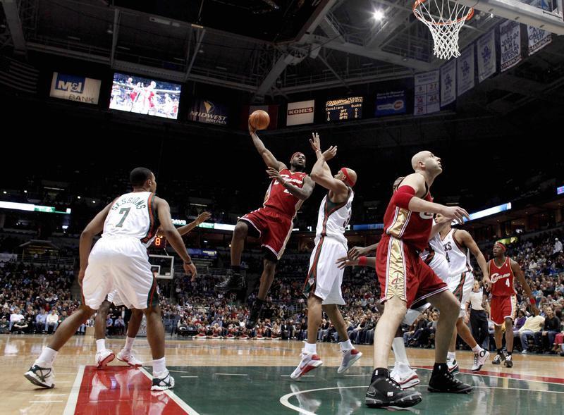 LeBron James goes up for hook shot