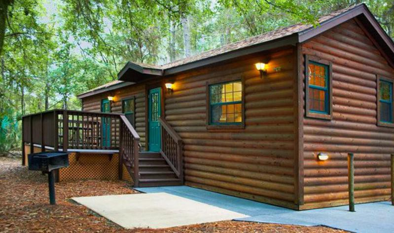 Outside of one of the cabins at Disney's Fort Wilderness Resort