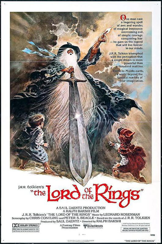 Lord of the Rings cartoon movie poster