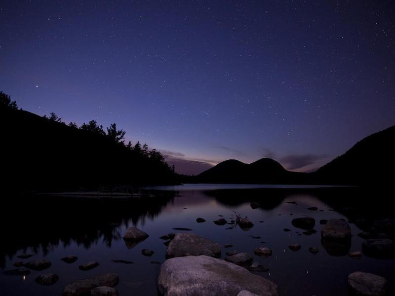 Jordan pond in Acadia National Park with night stars