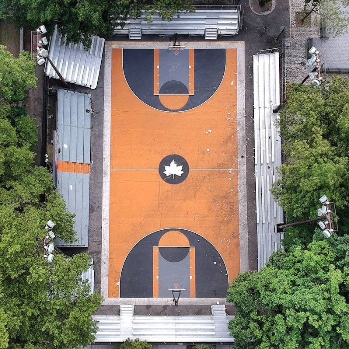 Aerial view of Rucker Park basketball courts