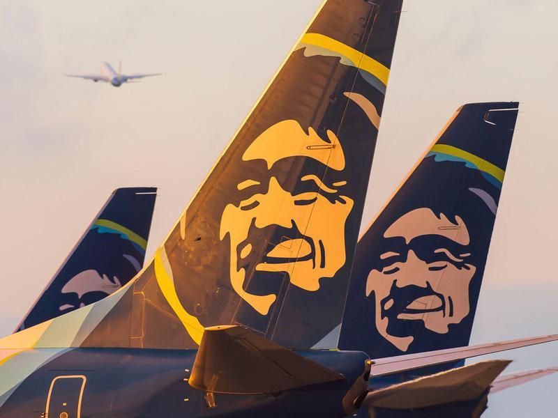 Closeup of Alaska Airlines logo