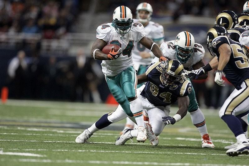 Ricky Williams running for the Miami Dolphins in 2008