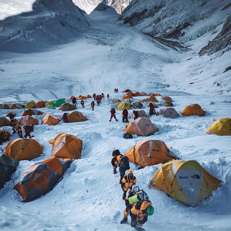 Crowded Everest Base Camp