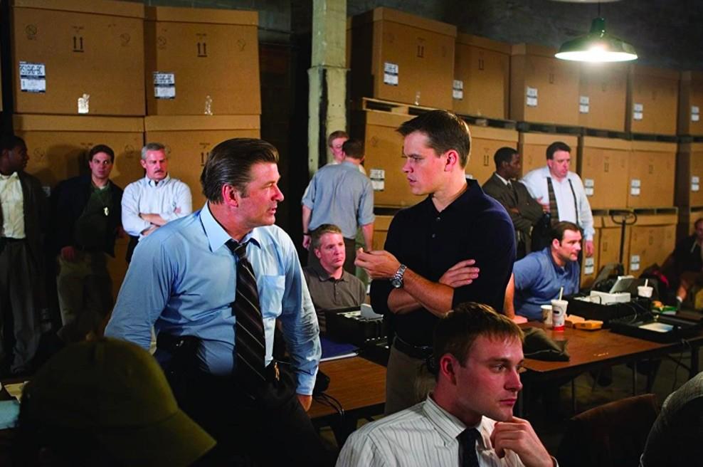 Alec Baldwin and Matt Damon in The Departed