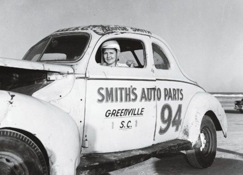 Louise Smith poses in car