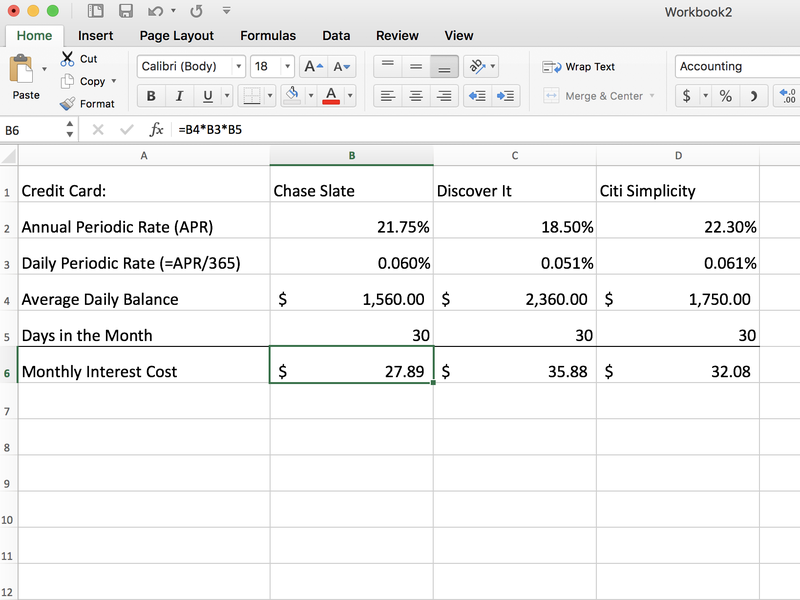 Calculate the interest cost on your credit cards