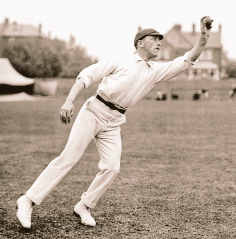 Wilfred Rhodes with ball