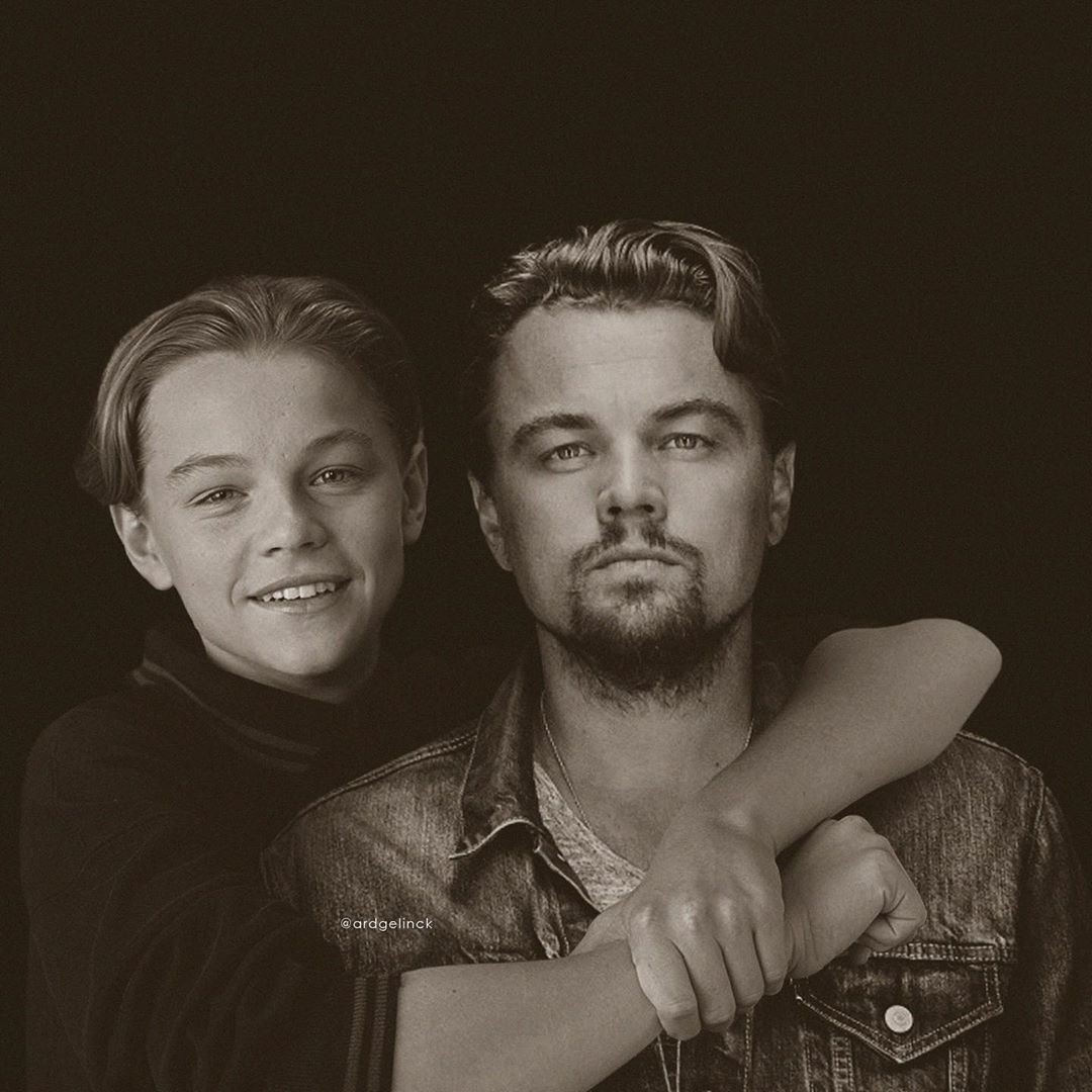 Leonardo DiCaprio with his younger self