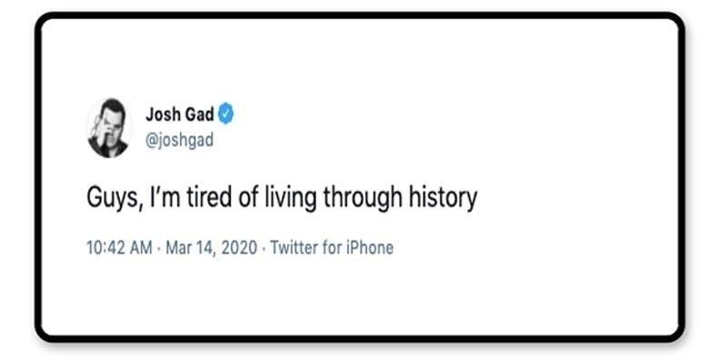 Josh Gad's tweet about the current times