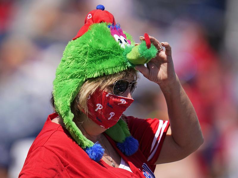 Fan in Phillie Phanatic hat
