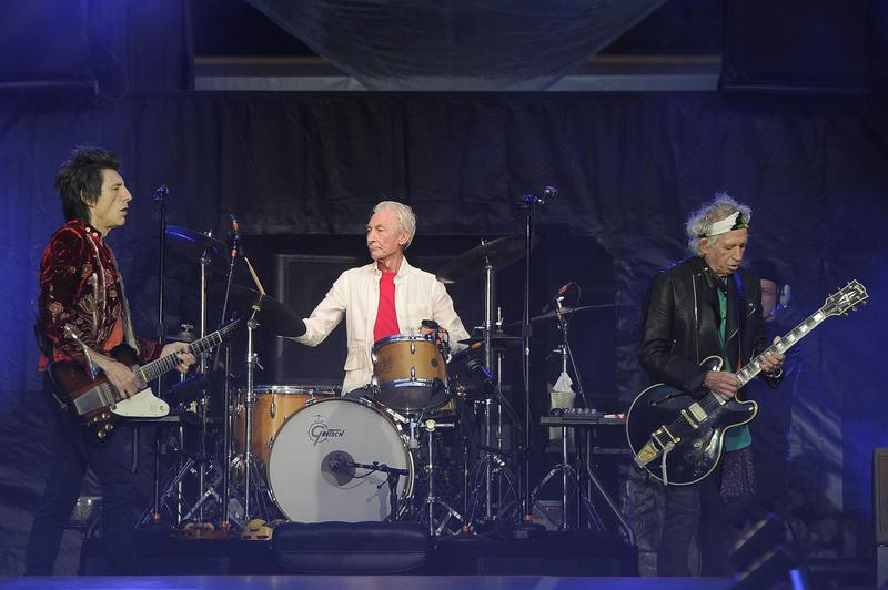 Ronnie Woods, Charlie Watts and Keith Richards performing in London, England, in 2018