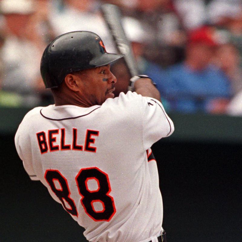Baltimore Orioles' Albert Belle hits a solo home run