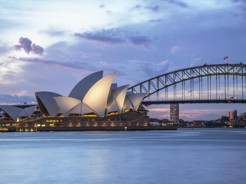 Sydney waterfront at night