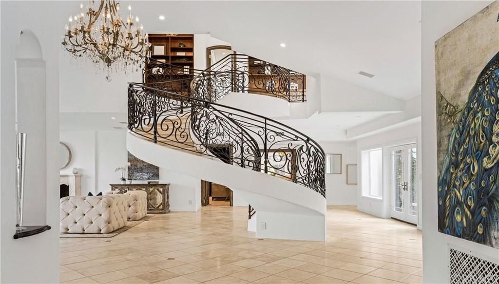 Spiral staircase in an open floor plan