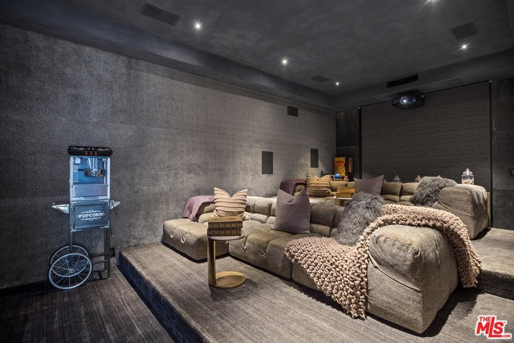 Indoor movie theater with popcorn machine