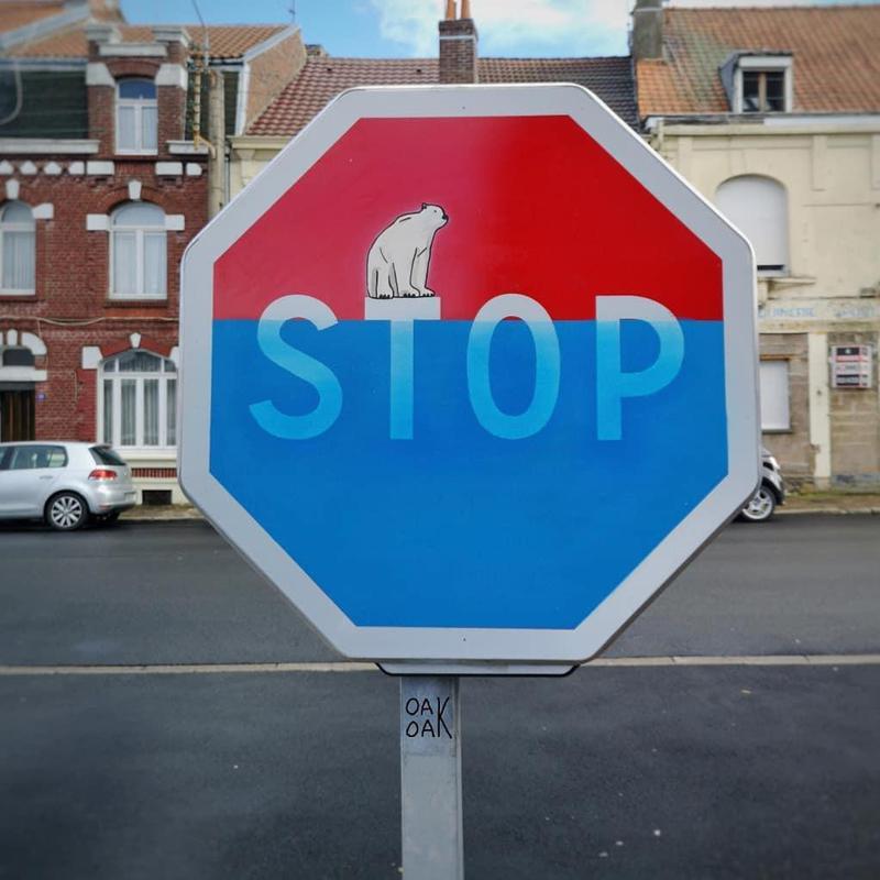 Climate change political street art