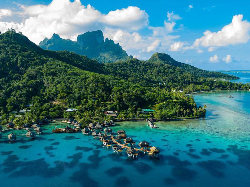 Aerial view of Bora Bora in French Polynesia