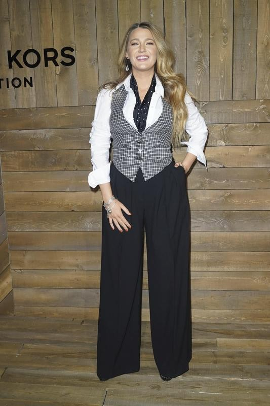 Blake Lively in slacks outfit at NYFW Michael Kors